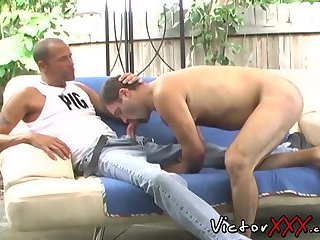 Anal,Cumshot,Mature,Outdoors,Blowjob,gay,hardcore,big dick,victorxxx Awesome fruits have steamy gay sex outdoors on the sofa
