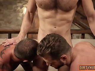 Anal,Hunks,gay,ass,fucking,creampie,group sex,muscle Muscle gay threesome with creampie