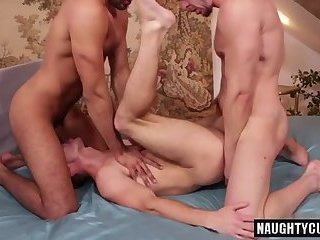 Anal,Threesome,gay,facial,group sex,riding,studs,latin Latin gay double penetration with facial
