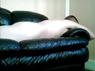 Men (Gay);Amateur (Gay);Masturbation (Gay);HD Gays leather sofa hump cum