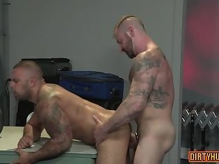 Anal,Dildo,Mature,Tattoo,bear,muscle,gay Muscle bear dildo and anal cumshot