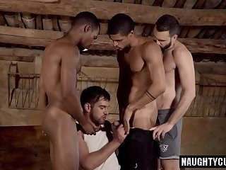 Anal,Hunks,Bareback,group sex,latin,muscled,swallow,gay Latin wolf flip flop and cumshot