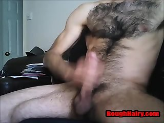 Amateur,Masturbation,Solo,hairy,gay bushy Hung dude discharges A big Load