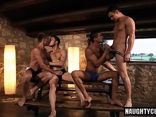 Anal,Hunks,gay,group sex,fuck,rimjob,spanking,orgy Hot gay double penetration and cumshot