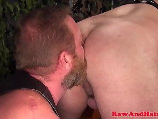 Anal,Cumshot,Bears,Mature,Bareback,leather,hairy,gay Cock loving bear squirted with warm jizz
