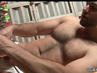 Masturbation,Solo,Hunks,bear,toys,beefy,hairy, ass play,musle,gay,David Chase Glass dildo wank - David Chase