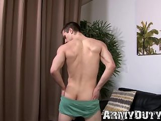 Masturbation,Solo,Big Cock,Uniform,gay sex,hairy,military,army,hardcore gay,ArmyDuty,gay Handsome army jock grabs his hairy dick and strokes it solo