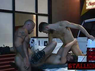 Anal,Hunks,Threesome,Blowjob,gay,oral,sucking,group,bj,rough,stallion Stud gets banged by two throbbing cocks in threeway