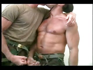 Strong muscle soldiers have perfect oral sex