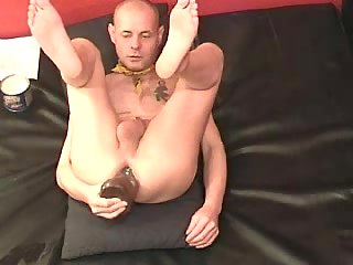 gay Mature taking dildo