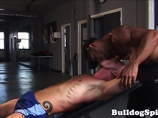 Anal,Hunks,Threesome,ass,hardcore,group sex,fuck,gym,muscled,gay Athletic stud roughfucked in threeway