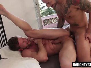 Anal,Cumshot,Hunks,Rimming,Tattoo,gay,facial,muscled Tattoo bottom anal sex and facial