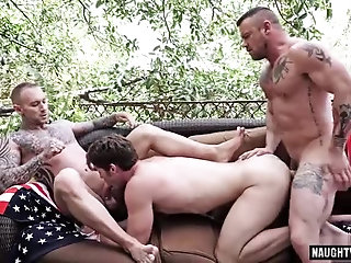 Anal,Cumshot,Domination,Outdoors,Threesome,gay,group sex Tattoo gay domination and cumshot
