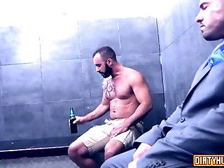 Anal,Threesome,gay,hardcore,leather,muscle Muscle gay threesome with cumshot