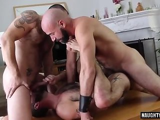 Anal,Threesome,Bareback,gay,hairy,hung,hairy ass Hairy gay threesome and cumshot