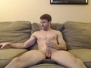 Amateur,Masturbation,Solo,hung,play with cock,gay Handsome Guy Jerks His Big White Cock and Rides A Big Dildo