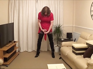 Crossdressers (Gay);Masturbation (Gay);Sex Toys (Gay);HD Gays;Hard Alison in Thighboots wanking hard