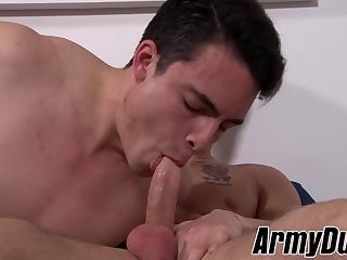 Anal,Tattoo,hardcore,big dick,riding,brunette,muscled,military,army,ArmyDuty,cowgirl,gay Musuclar soldiers Quentin Gainz and Rix fuckign and riding