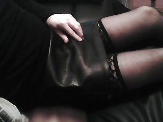 Crossdressers (Gay);Masturbation (Gay);Leather Faux Leather Cum