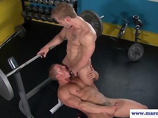 Anal,Cumshot,Blowjob,gym,muscled,gay,Marcus Mojo Ripped gym stud cocksucked while working out