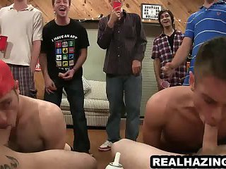 Three frat boys suck cock before one gets fucked