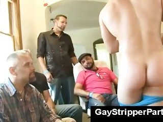 gay Gay stripper party with facial for blond boy