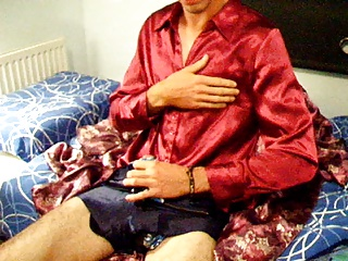 Men (Gay);Satin Blouse;In Blue;Blouse;Satin;Blue;Shorts Cumming over red satin blouse in blue disco shorts