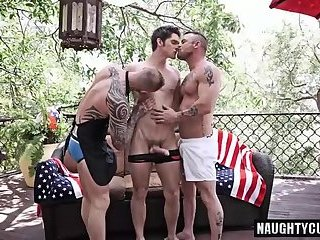 Domination,Hunks,Tattoo,gay,jizz,group sex,studs,gang bang fuck Tattoo gay domination with cumshot