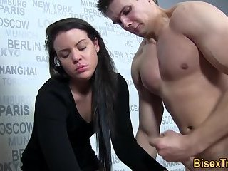 Anal,Bisexual,Threesome,Blowjob,gay,euro Bisex dude tugs his cock