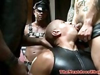 Cumshot,Amateur,Ebony,Interracial,Tattoo,group sex,leather,muscled,gay Black hunk spraying hot jizz during foursome