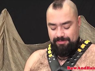 Bears,Mature,Threesome,Bareback,gay Restrained bear pounding ass in threesome