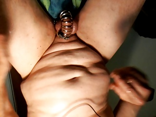Men (Gay);Cage;Milking prostate milking while in jailhouse chastity cage