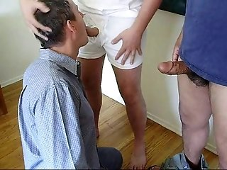 Amateur (Gay);Blowjobs (Gay);Group Sex (Gay) Amateur Guy Takes Two Loads Plus his Own