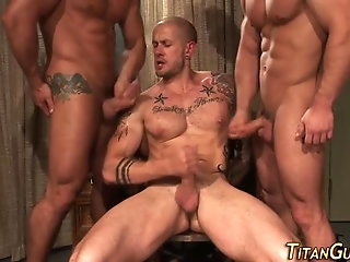 Anal,Hunks,gay,ass,group sex,fuck,muscled Muscly Hung Hunk trio cum
