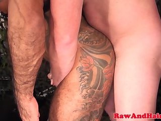 Anal,Cumshot,Bears,Mature,Tattoo,Bareback,hairy,gay Muscular wolf fucked in ass before cumming