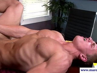 Anal,Cumshot,Body Builders,gay,hardcore,fuck,muscled,Marcus Mojo Muscular jock spills cum after getting fucked
