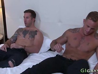 Anal,Cumshot,Amateur,Tattoo,Bareback,gay Tattooed soldiers plow n sperm