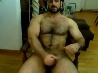 Amateur,Masturbation,Solo,hairy,gay Handsome, hairy, and megathick