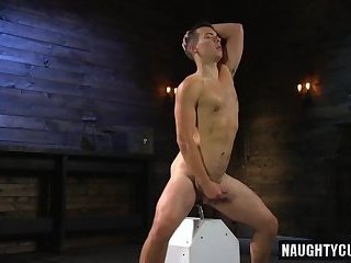 Anal,Object Insertion,latin,euro,analsex,fuck machine,gay Hot slave dildo and cumshot