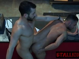 Anal,Mature,Outdoors,Rimming,gay,fuck Stallion gets mouth and asshole stuffed by cock