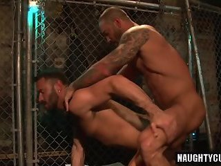 Anal,Hunks,Rimming,gay,big dick,muscled,bald Big dick gay anal sex with cumshot