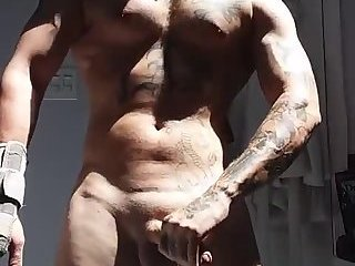 Amateur,Masturbation,Solo,Tattoo,webcam,muscled,gay Yum, bad tattoos and a uncut cock